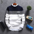 BE Men's Casual Round Neck Warm Strip Sweater Pullover Knitwear Jumper Coat Top