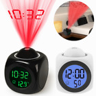 Digital Projection Alarm Clock With LCD Display Voice Talking Time LED Projector