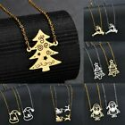 Stainless Steel Christmas Tree Pendant Necklace Long Sweater Chain Jewelry Gifts