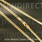 10K Yellow Gold 1.5mm or 2mm Real Miami Cuban Link Chain Necklace 16'-30'