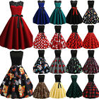 Women 1950s 60s Vintage Hepburn Retro Rockabilly Evening Party Pinup Swing Dress