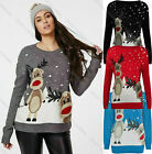 Womens Christmas Ladies Knitted Winter Twin Rudolph Jumper Sweater Plus Size Top