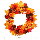 Halloween Fall Door Pumpkin Wreath Autumn Maple Leaf LED Garland Home Decoration
