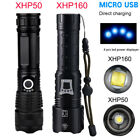 xhp50 most powerful Flashlight zoomable xhp160 Torch USB Rechargeable waterproof