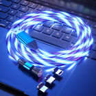 540° Rotate Magnetic LED Light Up USB Phone Charger Cord For iPhone Samsung LG