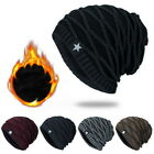 Unisex Star Beanie Womens Mens Hat Knit Headwear Color Solid Slouchy Thick Cap