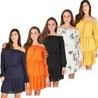 Women Bardot Neck Line Dress Party Gown Long Sleeve Bodycon Off Shoulder Top
