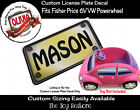 Custom License Plate Decal Sticker Fits Fisher Price 6V VW Beetle Ride-on Car