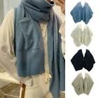 Women Winter Knit Oversized Poncho Blanket Front Pockets Button Shawl Cardigans