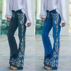Women Denim Embroidery Destoryed Flare Jeans Button Waist Bell Bottom Pants HOT