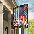 Corgi Happy 4th Of July. American US Flag THN2188F Garden and House Flag