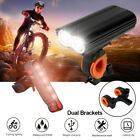 Bicycle Mountain LED Front Light USB Rechargeable Headlamp Rear Light Warning