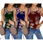 LADIES STRAPPY VEST STRETCHY PRINT WOMENS FLORAL CAMI T SHIRT TEE SUMMER TOPS