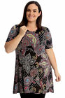 New Womens Plus Size Swing Top Ladies Paisley Print Tunic A-Line Short Sleeves