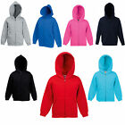 FRUIT OF THE LOOM CHILDS ZIP HOODED TOP HOODIE ALL AGES