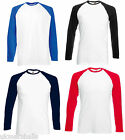 FRUIT OF THE LOOM LONG SLEEVE BASEBALL T SHIRT S - XXL