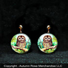 "Cute Owl Bird Button Earrings - Clip on or Pierced ""Handmade"" Mother of Pearl"