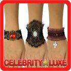 New Ladies Punk Gothic Witch Rock Wrist Cuff Lace Bracelet Fancy Dress Costume
