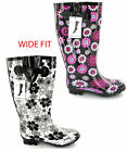 Womens Wide Calf Festival Wellingtons Wellies Size 3-8
