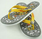 Ed Hardy Womens Tiger Flip Flop White Yellow Sandals