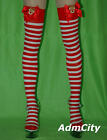 Semi-Opaque Stripe Thigh High Stockings Reindeer Bow Top Punk Rock Hosiery Sexy
