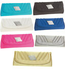 New Womens Evening Diamante           Satin Clutch Bags