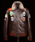 Top Gun Brown Mens New A2 Bomber Winter Pilot Classic Movie Real Leather Jacket