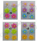 15mm DAISY FLOWER GLITTER ACRYLIC STUD EARRINGS SET OF 3 PAIRS IN 4 VARIATIONS