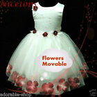 R476 Hot Red White Christmas Wedding Party Flower Girls Dress SIZE 1-2-3-4-5-6T
