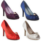 WOMENS LADIES BLUE RED IVORY PURPLE SATIN PEEPTOE BRIDESMAIDS PARTY SHOES 3-8