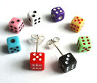 Mini Dice Stud Earrings 5mm. Silver Plated board game