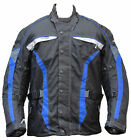 BLUE MOTORBIKE MOTORCYCLE CORDURA WATERPROOF JACKET - CE ARMOURED