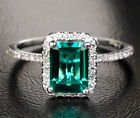 2.33ct Emerald 9-18K White Gold Pave .23ct Diamond Halo Engagement Wedding Ring