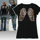 AnnaKastle New Womens Gold Foil Cute Angel Wing Tshirts Tee Black size S / M