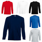 2 FRUIT OF THE LOOM LONG SLEEVE T SHIRTS 100% COTTON 5 COLOURS S M L XL XXL