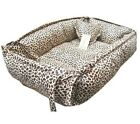 100% Cotton Handmade Leopard Print Pet Dog Cat Bed House Round/Square S,M,L