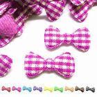 "(50-100pcs) x 7/8"" Padded Gingham Cotton Bow Appliques for Trim/Scrapbook/Bows"