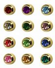 Studex Ear Piercing Mini Gold Plated Stud Earrings 2mm Bezel Setting Birthstones