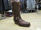 LOBLAN 641 Brown Waxy Leather Mens Cowboy Boots Classic Biker Hand Western 0641