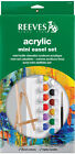 REEVES ACRYLIC PAINT SET WITH WOODEN EASEL, BRUSH & THREE PAINTING BOARDS