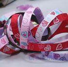 "5 Yards 3/8"" (~10mm) Heart print Grosgrain Ribbon H004 Valentine Bow U PICK"