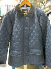 LADIES GIRLS NAVY POLAR QUILTED DIAMOND STITCHED CORD COLLAR RIDING JACKET