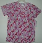 Scrubs Printed Set Basic 3 pocket Top & Color Breast Cancer Ribbons on Stripe BG