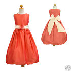 New Toddler & Girl Easter Wedding Formal Party Dress Coral Red size:  6 8 10 12