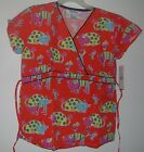 "Scrubs Printed Set ""Y"" Neck Tie Back Top & Pant Cats & Mice on Orange BG"