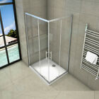 Sliding walk in shower enclosure 6mm glass door corner entry cubicle stone tray