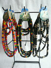 Black Brown Rasta Wood Bead Surfer Necklace & Bracelet/Wristband Set