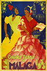 Malaga Spain Fashion Dance 1933 Travel Tourism Vintage Poster Repro FREE SHIP