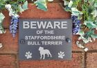Beware Of The Dog Slate Door Gate House Plaque Sign 17cm x 13cm (Breeds C-D)