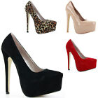 Ladies Womens Party Wedding Court Shoes Pumps Stiletto High Heels Size